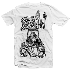 Death - Scream Bloody Gore line-art vit - t-shirt